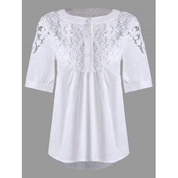 Lace Crochet High Low Henley Blouse