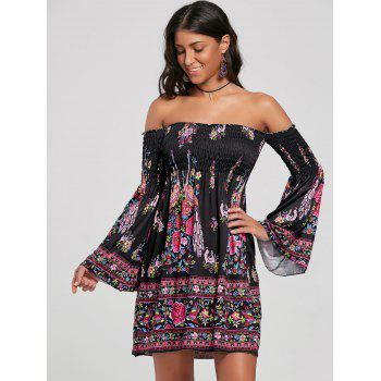 Flare Sleeve Off The Shoulder Bohemian Dress - BLACK XL
