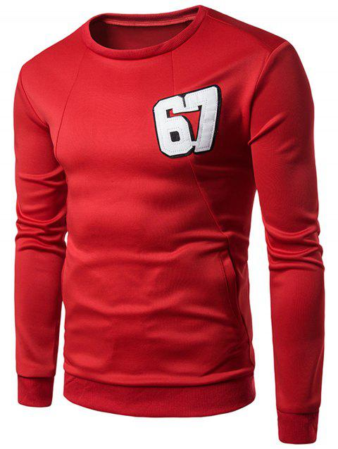 Pullover Letter Graphic Sweatshirt - Rouge M