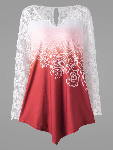 Plus Size Lace Yoke Ombre Top - RED 4XL