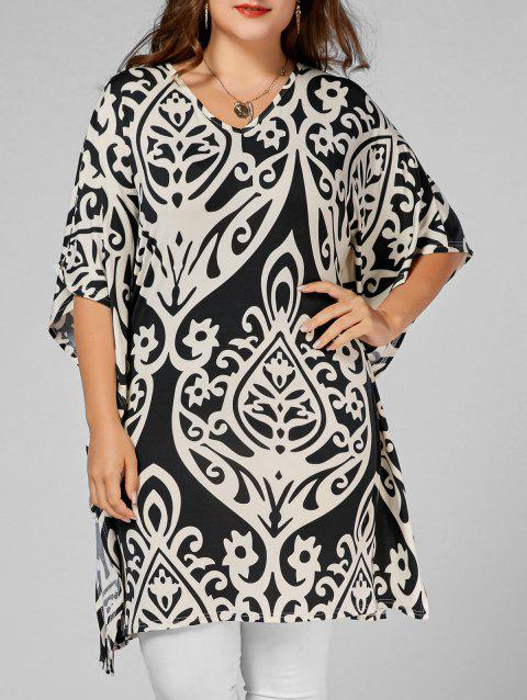 Printed Butterfly Sleeve Plus Size Long Top - FLORAL 2XL
