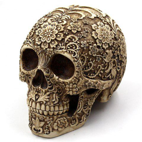 Halloween Decoration Flower Skull Resin Ornament - EARTHY