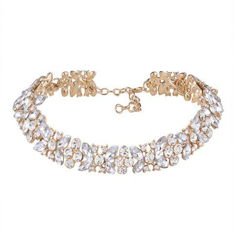 Alloy Rhinestone Butterfly Sparkly Necklace - GOLDEN