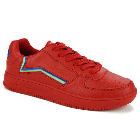 Colour Block Breathable Faux Leather Casual Shoes - RED 40