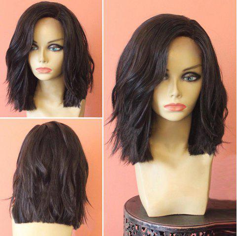 Medium Side Part Shaggy Slightly Curly Synthetic Wig - BLACK/BROWN