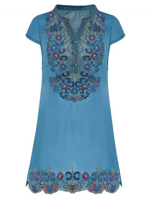 Sequin Embroidered Plus Size Tunic Top - BLUE 3XL
