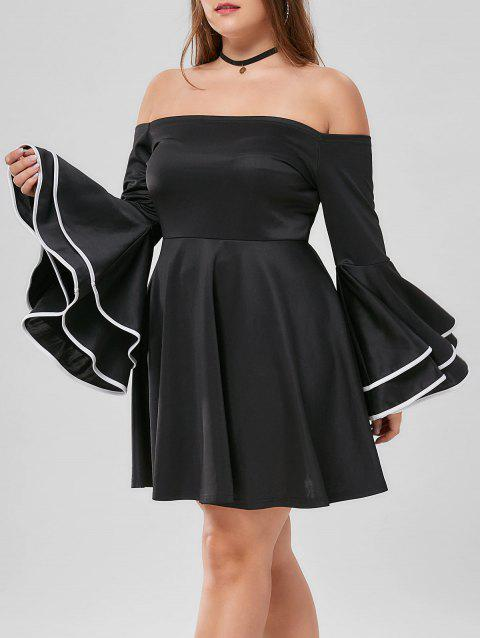 f52778bf85c LIMITED OFFER  2019 Plus Size Flare Sleeve Off The Shoulder Dress In ...