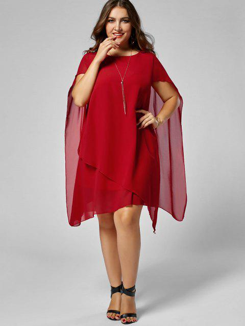 e1bd70bed2f2d 17% OFF] 2019 Chiffon Asymmetric Plus Size Cape Dress In RED | DressLily