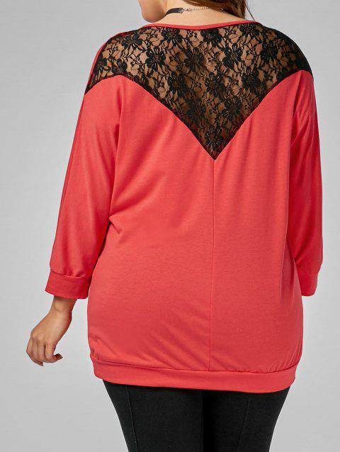 Back Lace Insert Plus Size Tee - RED 2XL