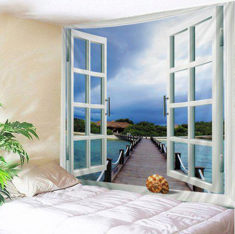 Faux Window Seascape Print Tapis suspendu mural imperméable - multicolore W59 INCH * L51 INCH