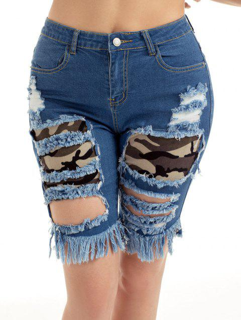 Camouflage Insert Ripped Jean Shorts - BLUE M