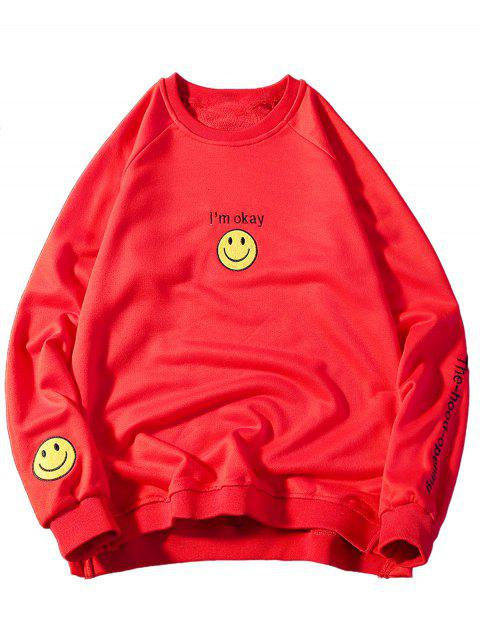 Graphic Smile Face Embroidered Sweatshirt - RED 3XL