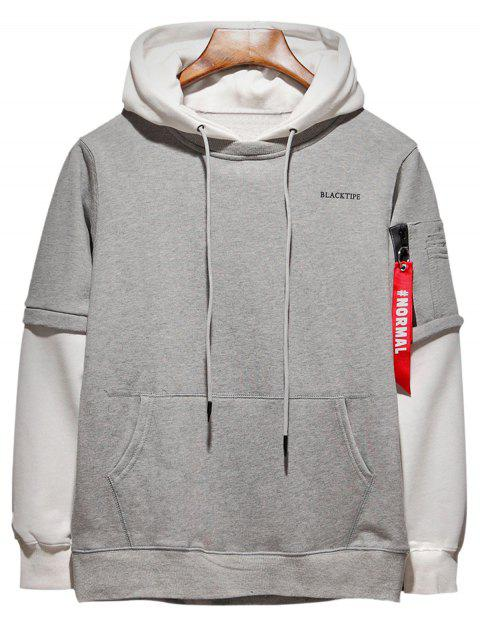 Hooded Size Zipper Pocket Color Block Panel Hoodie - GRAY 2XL