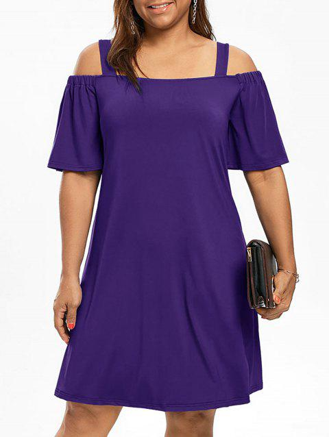 Robe Manches 1/2 Épaules Nues Grande Taille - Pourpre XL