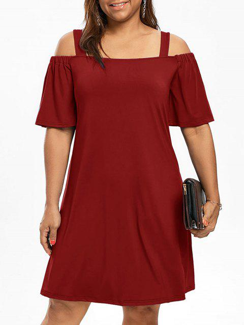 Robe Manches 1/2 Épaules Nues Grande Taille - Vin rouge XL