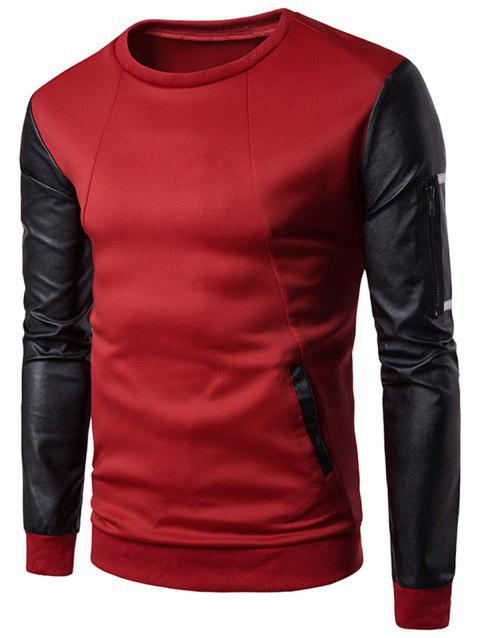 Zip Shoulder Faux Leather Panel Sweatshirt - RED M