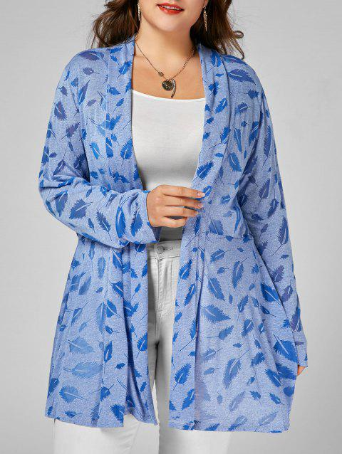 Feather Print Open Front Plus Size Longline Coat - CLOUDY 2XL