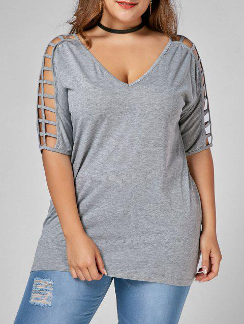 Cut Out V Neck Plus Size Tunic Tee - GRAY 2XL