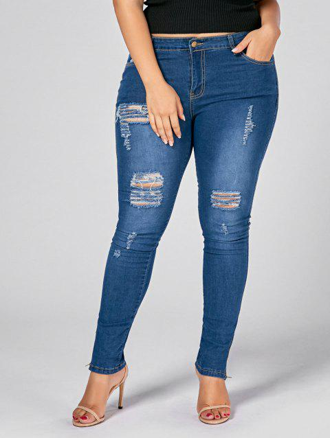 a84cdfe09b1 41% OFF] 2019 Plus Size Zip Leg Ripped Tight Jeans In DENIM BLUE ...