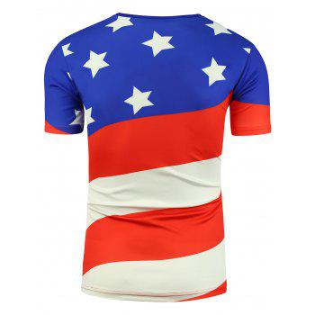 Short Sleeve Cartoon Eagle and American Flag Print T-shirt - XL XL