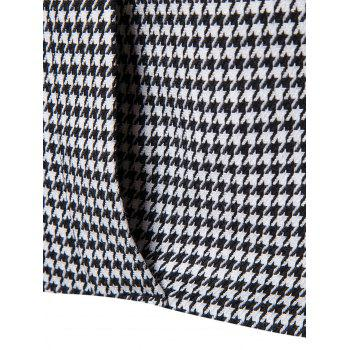 Contrast Two Button Houndstooth Blazer - BLACK WHITE 2XL