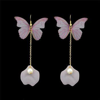Faux Pearl Mesh Butterfly Fish Hook Earrings