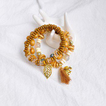 Tassel Elephant Leaf Wooden Beaded Bracelet Set - COFFEE
