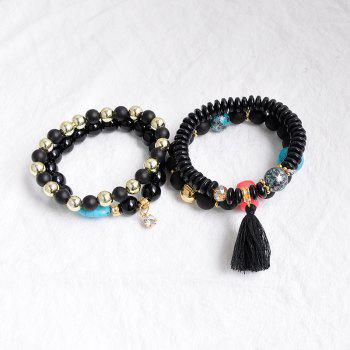 Rhinestone Charm Tassel Beaded Bracelet Set -  BLACK