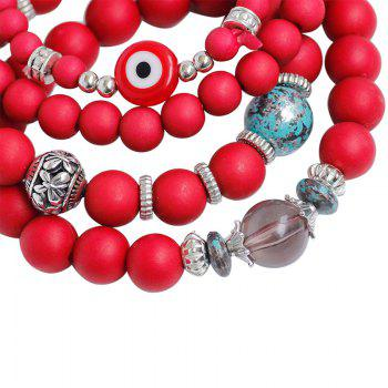 Tree of Life Charm Beaded Bracelets -  RED