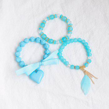Feather Heart Ribbon Charm Beaded Bracelet Set - BLUE