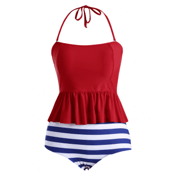 Plus Size Stripe Padded Flounce Halter Bandeau Swimsuit - BLUE BLUE