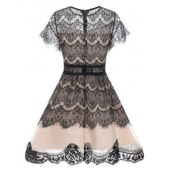 Lace A Line Waisted Vintage Dress - BLACK L