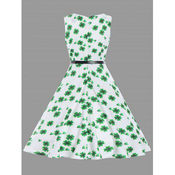 Vintage Clover Print Fit et Flare Dress - Blanc 2XL
