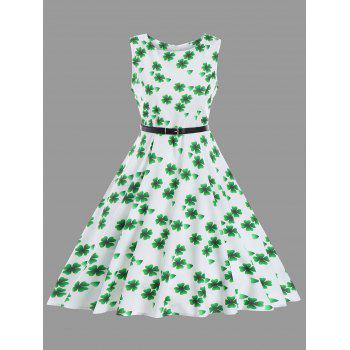 Vintage Clover Print Fit and Flare Dress