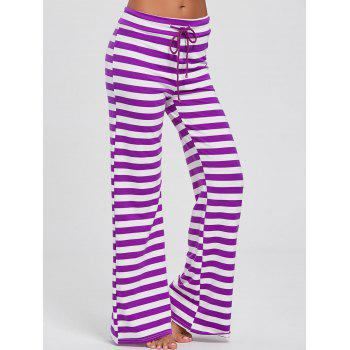 Drawstring Stripe Wide Leg Pants