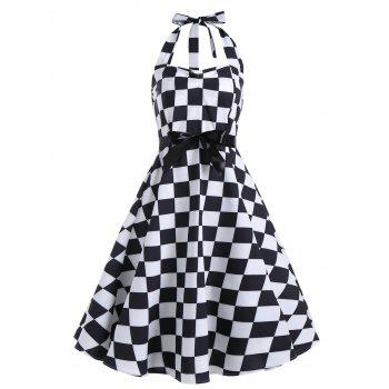 Checked Printed Backless Halter Sleeveless Vintage Dress