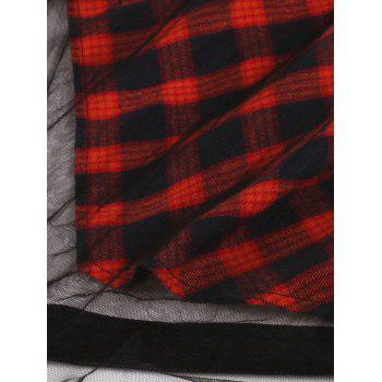 Sheer Yarn Insert Asymmetrical Tartan Midi Skirt - RED M