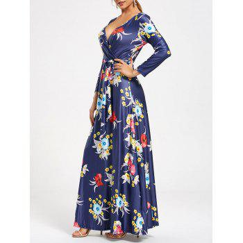 V Neck Flower Print Surplice Maxi Dress