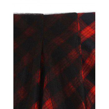 Sheer Yarn Insert Asymmetrical Tartan Midi Skirt - RED RED