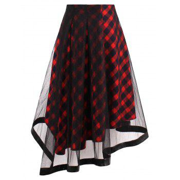 Sheer Yarn Insert Asymmetrical Tartan Midi Skirt
