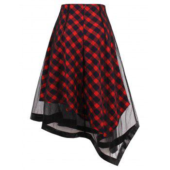 Sheer Yarn Insert Asymmetrical Tartan Midi Skirt - L L