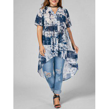 Printed High Low Chiffon Plus Size Top