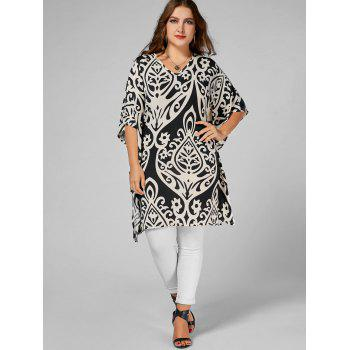 Printed Butterfly Sleeve Plus Size Long Top - FLORAL FLORAL