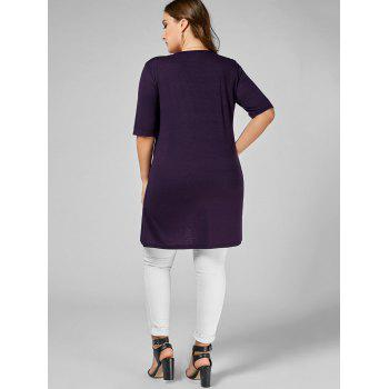 V Neck Plus Size Tunic Tee - DEEP PURPLE DEEP PURPLE