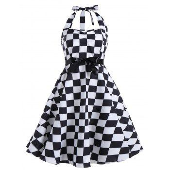 Plus Size Checked Printed Halter Vintage Dress