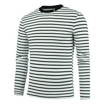 Chinese Character Embroidery Striped Tee