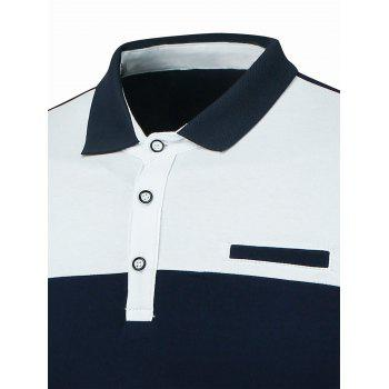 Stripe Panel Faux Pocket Polo - Bleu Violet 3XL
