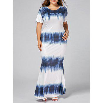 Plus Size Tie Dye Bodycon Maxi Dress