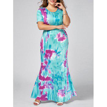 Plus Size Ombre Print Maxi Sheath Dress