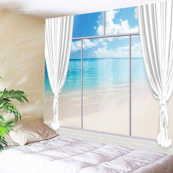 French Window Beach Print Tapestry Wall Hanging Art